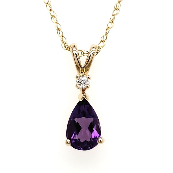 14K Yellow Gold Pear Amethyst & Diamond Pendant Quality Gem, LLC Bethel, CT