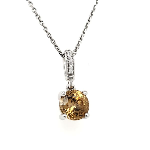 14K White Gold Round Brown Zircon & Diamond Pendant Image 2 Quality Gem, LLC Bethel, CT