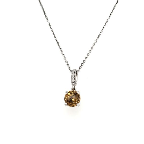 14K White Gold Round Brown Zircon & Diamond Pendant Image 3 Quality Gem, LLC Bethel, CT