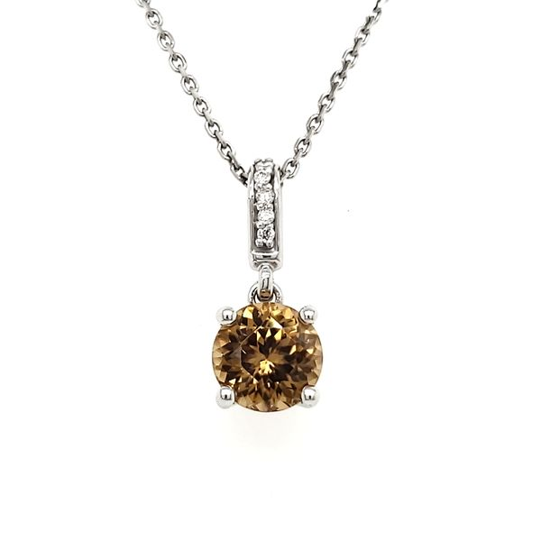 14K White Gold Round Brown Zircon & Diamond Pendant Quality Gem, LLC Bethel, CT