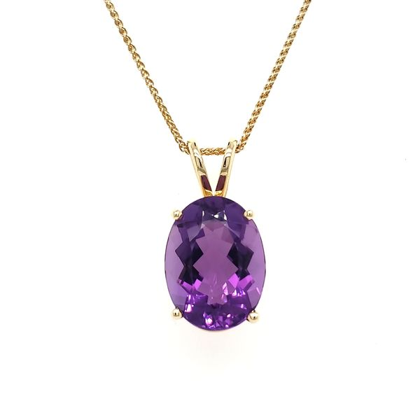 14K Yellow Gold Oval Amethyst Pendant Image 4 Quality Gem, LLC Bethel, CT