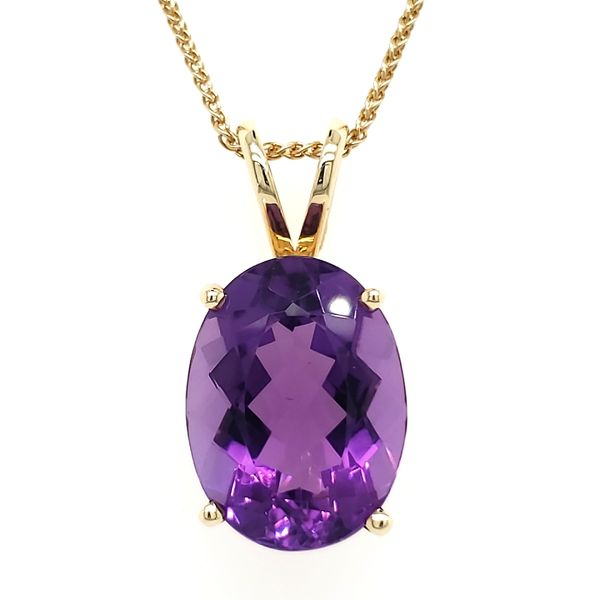 14K Yellow Gold Oval Amethyst Pendant Quality Gem, LLC Bethel, CT