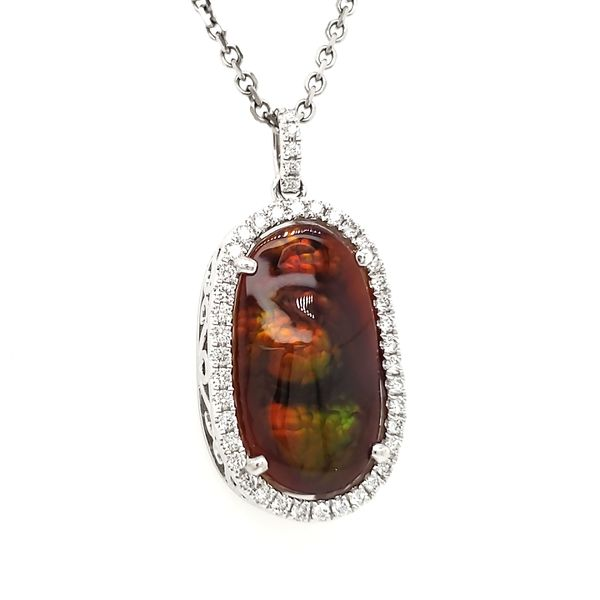 14K White Gold Fire Agate & Diamond Pendant Image 2 Quality Gem, LLC Bethel, CT