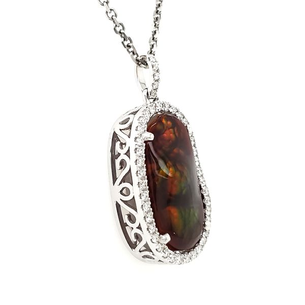 14K White Gold Fire Agate & Diamond Pendant Image 4 Quality Gem, LLC Bethel, CT