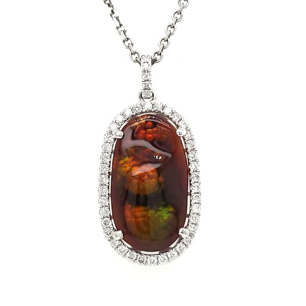 14K White Gold Fire Agate & Diamond Pendant Quality Gem, LLC Bethel, CT