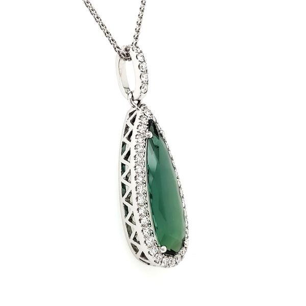 14K White Gold Green Tourmaline & Diamond Pendant Image 2 Quality Gem, LLC Bethel, CT