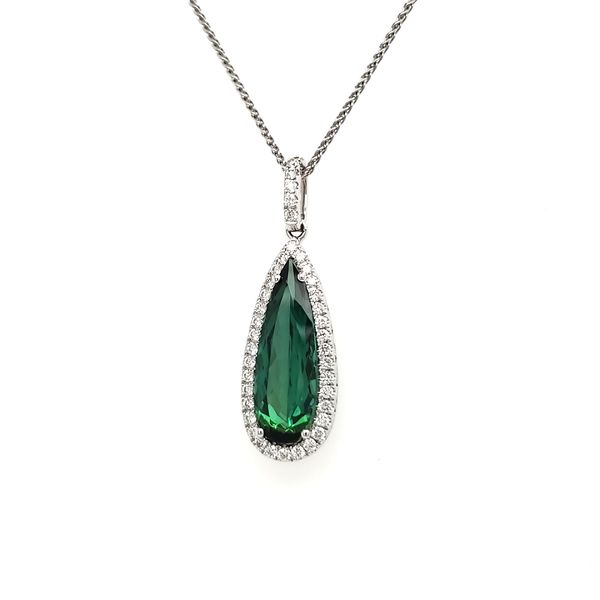 14K White Gold Green Tourmaline & Diamond Pendant Image 3 Quality Gem, LLC Bethel, CT