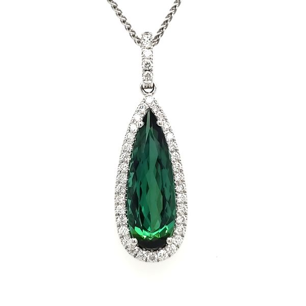 14K White Gold Green Tourmaline & Diamond Pendant Quality Gem, LLC Bethel, CT