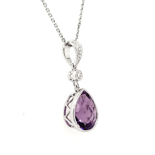 14K White Gold Milgrain Bezel Pear Amethyst & Diamond Pendant Image 2 Quality Gem, LLC Bethel, CT