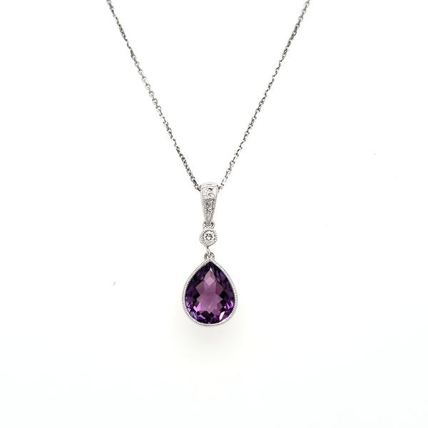 14K White Gold Milgrain Bezel Pear Amethyst & Diamond Pendant Image 3 Quality Gem, LLC Bethel, CT