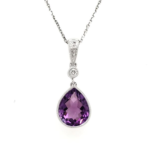 14K White Gold Milgrain Bezel Pear Amethyst & Diamond Pendant Quality Gem, LLC Bethel, CT