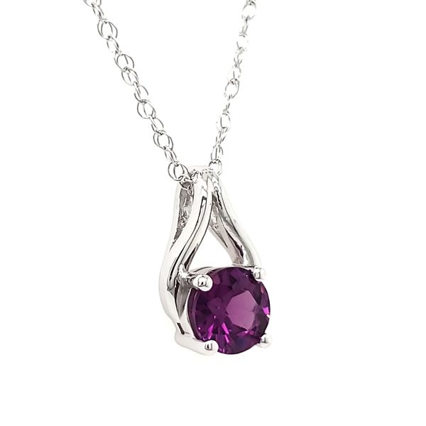 14K White Gold Purple Garnet Wishbone Pendant Image 3 Quality Gem LLC Bethel, CT