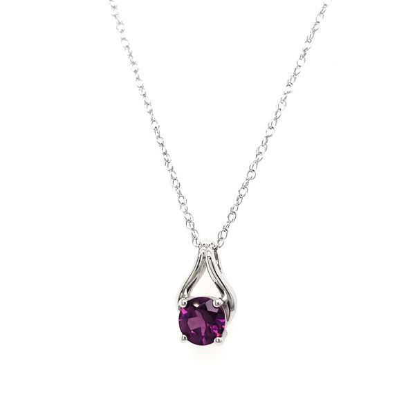 14K White Gold Purple Garnet Wishbone Pendant Image 4 Quality Gem LLC Bethel, CT