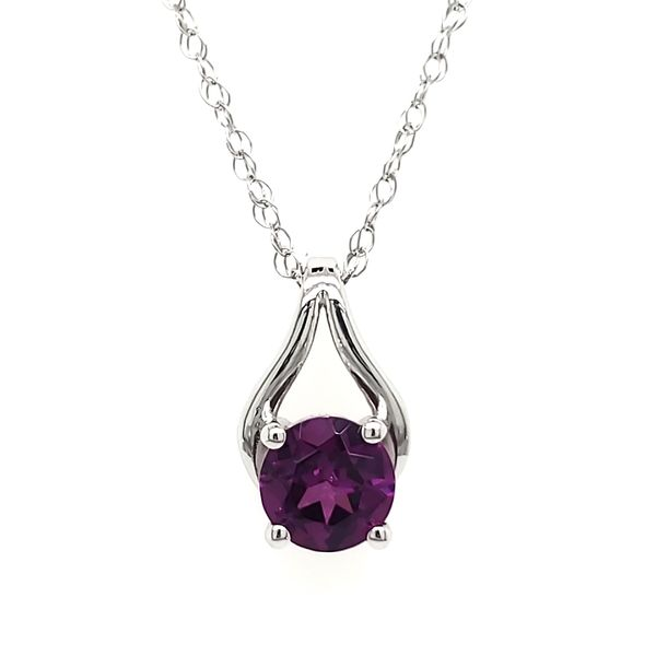 14K White Gold Purple Garnet Wishbone Pendant Quality Gem LLC Bethel, CT