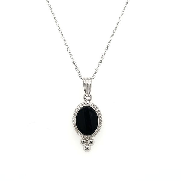 14K White Gold Oval Onyx Beaded Bezel Pendant Image 2 Quality Gem, LLC Bethel, CT