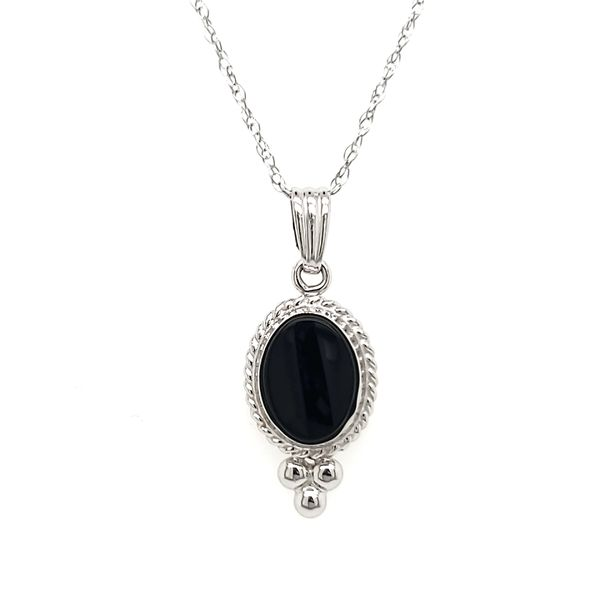 14K White Gold Oval Onyx Beaded Bezel Pendant Quality Gem, LLC Bethel, CT