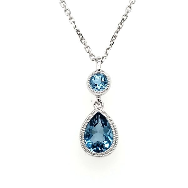 14K White Gold Double Milgrain Bezel Round & Pear Blue Topaz Pendant Quality Gem, LLC Bethel, CT