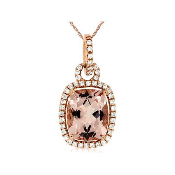 14K Rose Gold Cushion Morganite & Diamond Pendant Image 2 Quality Gem, LLC Bethel, CT