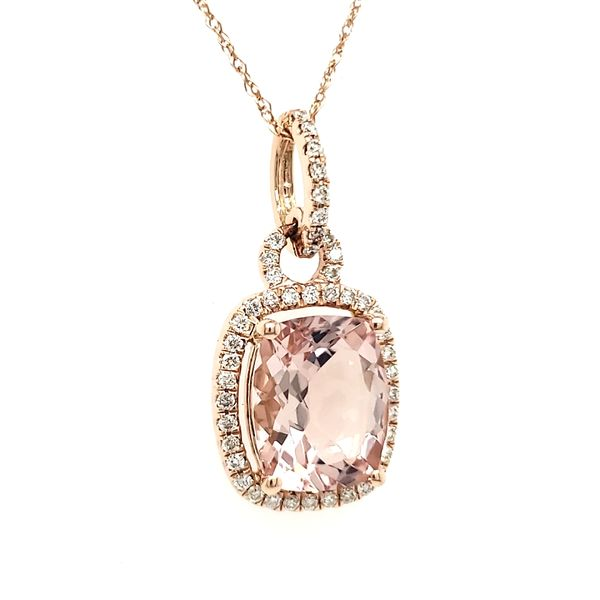 14K Rose Gold Cushion Morganite & Diamond Pendant Image 3 Quality Gem, LLC Bethel, CT