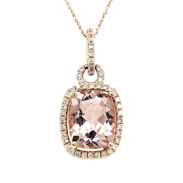 14K Rose Gold Cushion Morganite & Diamond Pendant Image 4 Quality Gem, LLC Bethel, CT