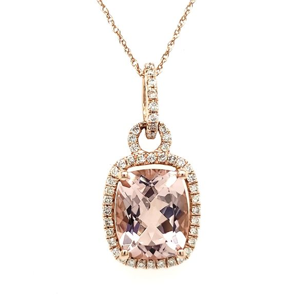 14K Rose Gold Cushion Morganite & Diamond Pendant Quality Gem, LLC Bethel, CT