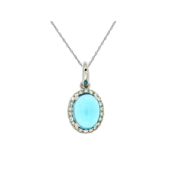 14K White Gold Cabochon Blue Topaz & Diamond Pendant Image 3 Quality Gem, LLC Bethel, CT