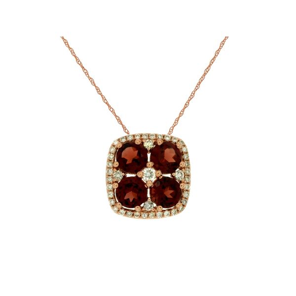 14K Rose Gold Garnet & Diamond Slide Pendant Image 2 Quality Gem, LLC Bethel, CT