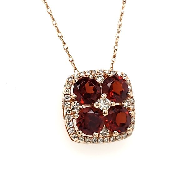 14K Rose Gold Garnet & Diamond Slide Pendant Image 3 Quality Gem, LLC Bethel, CT