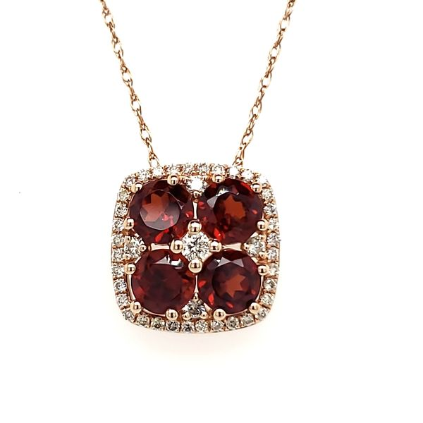 14K Rose Gold Garnet & Diamond Slide Pendant Quality Gem, LLC Bethel, CT