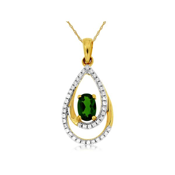 14K Yellow Gold Double Pear Chrome Diopside & Diamond Pendant Image 2 Quality Gem, LLC Bethel, CT