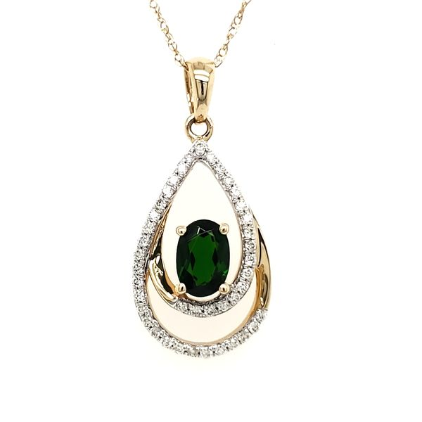 14K Yellow Gold Double Pear Chrome Diopside & Diamond Pendant Image 3 Quality Gem, LLC Bethel, CT