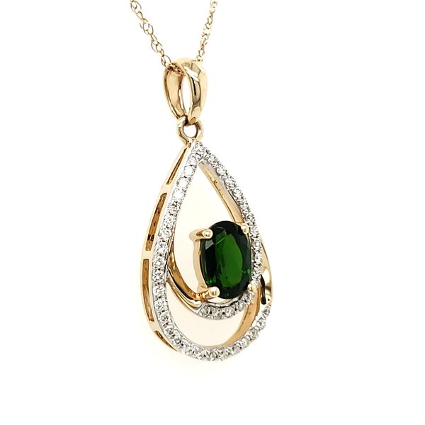 14K Yellow Gold Double Pear Chrome Diopside & Diamond Pendant Image 4 Quality Gem, LLC Bethel, CT