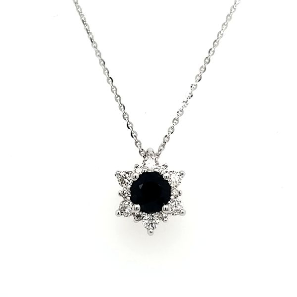 14K White Gold Sapphire & Diamond Cluster Pendant Quality Gem, LLC Bethel, CT