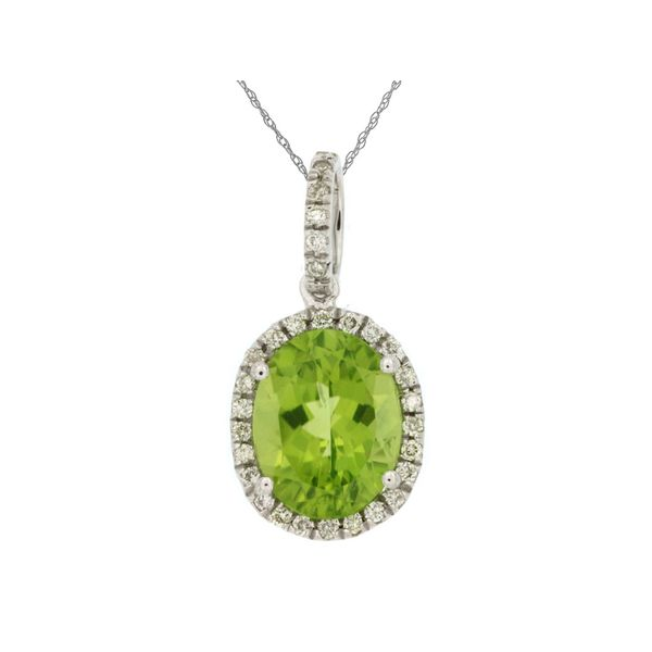 14K White Gold Oval Peridot & Diamond Pendant Quality Gem, LLC Bethel, CT