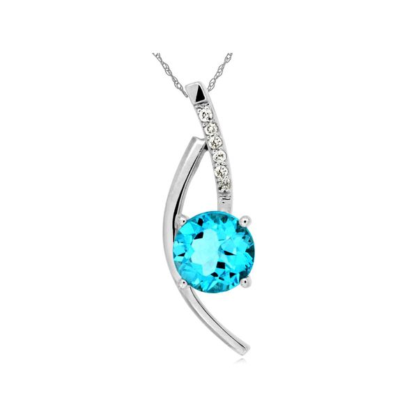 14K White Gold Modern Blue Topaz & Diamond Pendant Quality Gem, LLC Bethel, CT