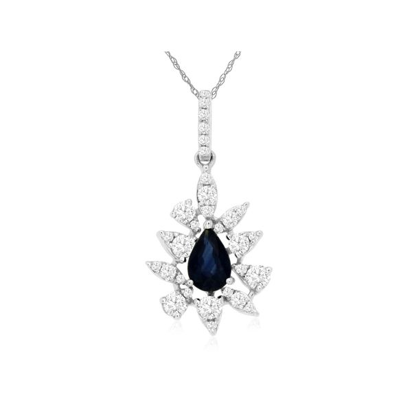 14K White Gold Pear Drop Sapphire & Diamond Pendant Quality Gem, LLC Bethel, CT