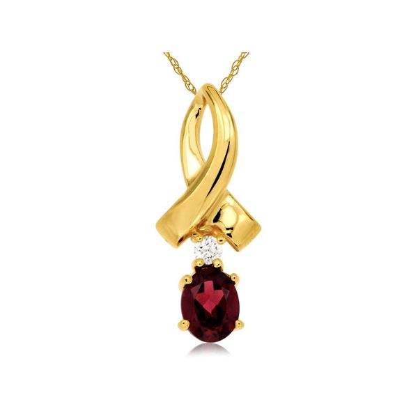 14K Yellow Gold Ribbon Rhodolite Garnet & Diamond Pendant Quality Gem LLC Bethel, CT