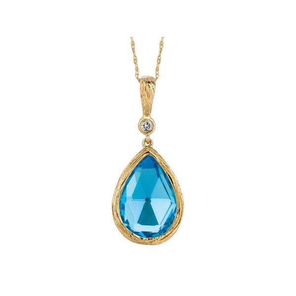 14K Yellow Gold Textured Pear Blue Topaz & Diamond Pendant Quality Gem, LLC Bethel, CT