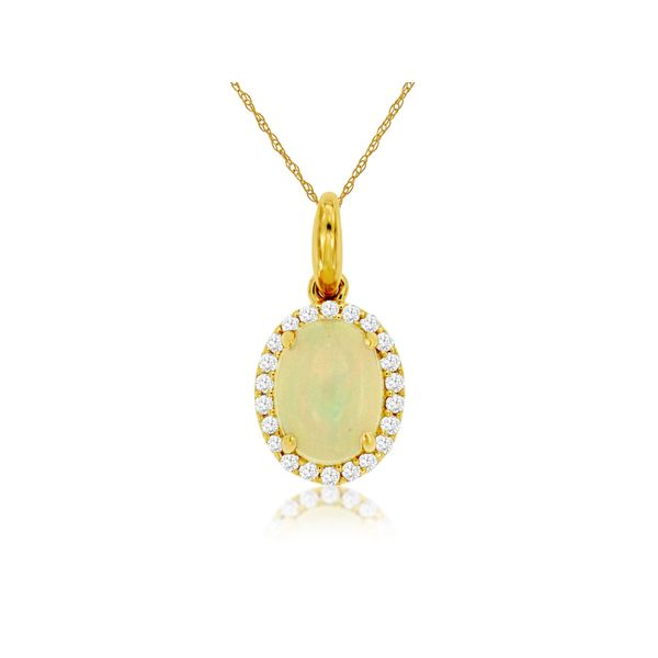 14K Yellow Gold Oval Opal Cabochon & Diamond Pendant Quality Gem LLC Bethel, CT