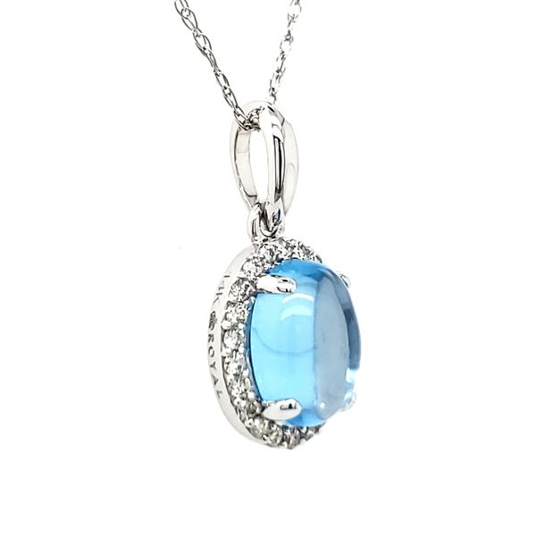 14K White Gold Cabochon Blue Topaz & Diamond Pendant Image 2 Quality Gem LLC Bethel, CT
