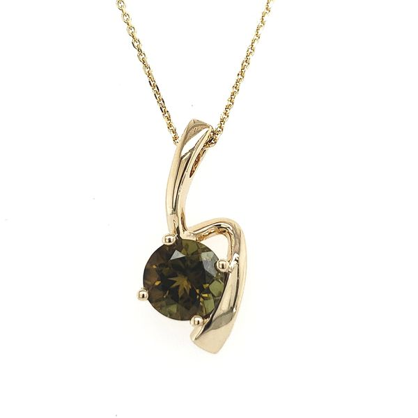 14K Yellow Gold Green Tourmaline Free-Form Pendant Image 2 Quality Gem LLC Bethel, CT