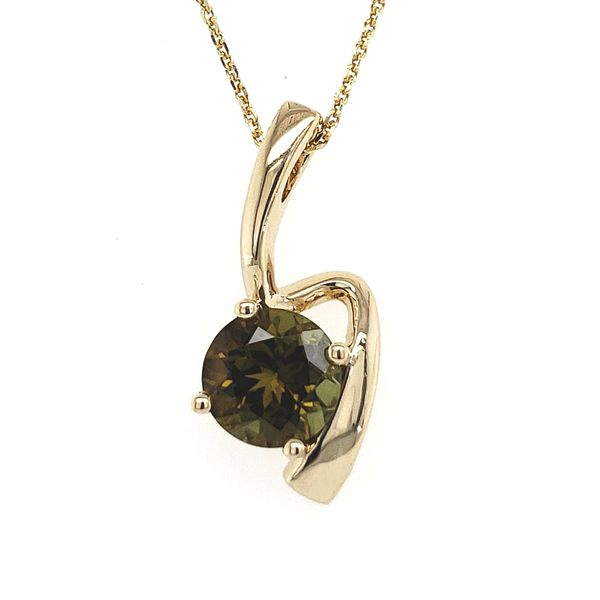 14K Yellow Gold Green Tourmaline Free-Form Pendant Quality Gem LLC Bethel, CT