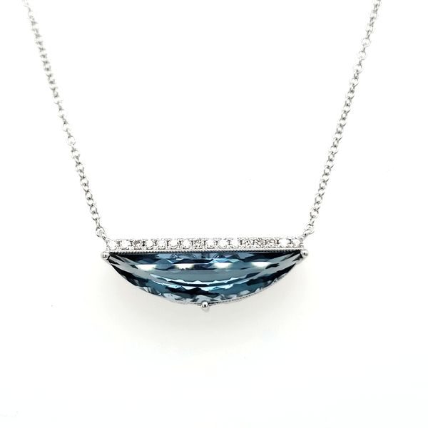 14K White Gold London Blue Topaz & Diamond Half Moon Necklace Image 2 Quality Gem, LLC Bethel, CT
