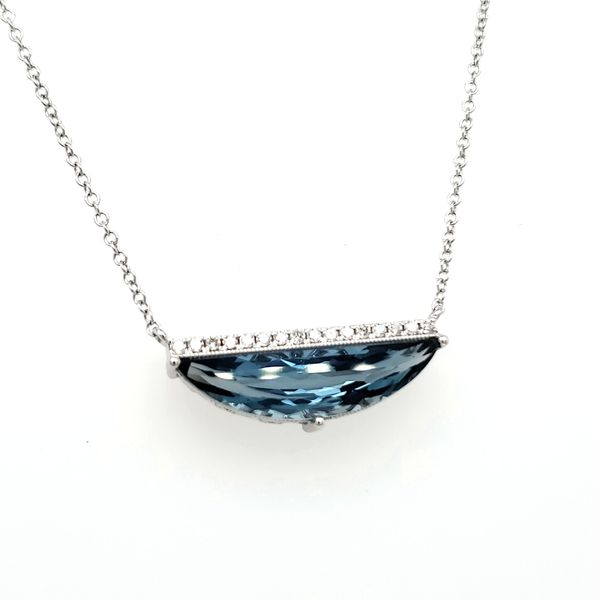 14K White Gold London Blue Topaz & Diamond Half Moon Necklace Image 3 Quality Gem, LLC Bethel, CT