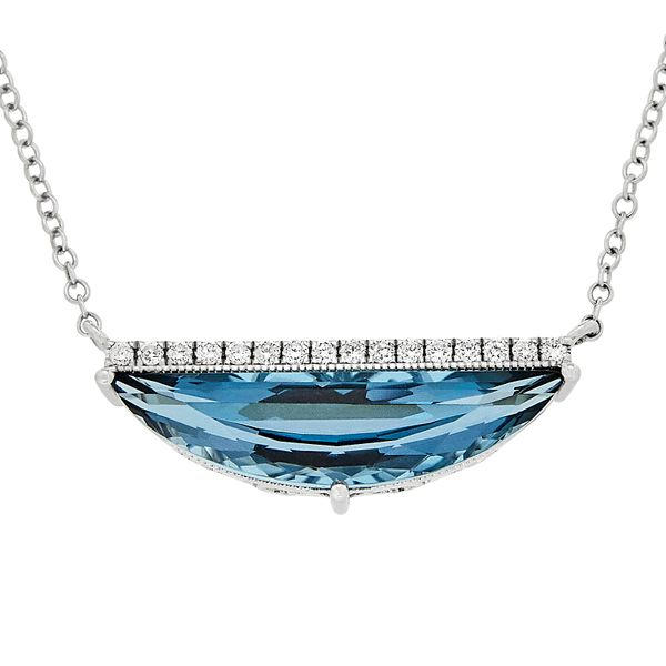 14K White Gold London Blue Topaz & Diamond Half Moon Necklace Quality Gem, LLC Bethel, CT