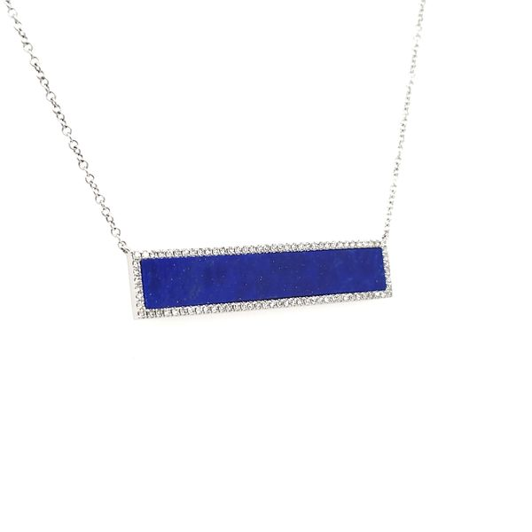 14K White Gold Lapis & Diamond Bar Necklace Image 2 Quality Gem, LLC Bethel, CT
