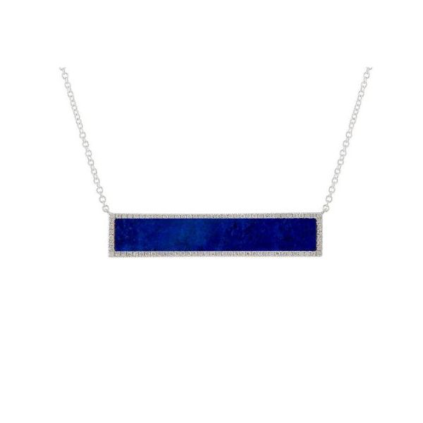 14K White Gold Lapis & Diamond Bar Necklace Quality Gem, LLC Bethel, CT