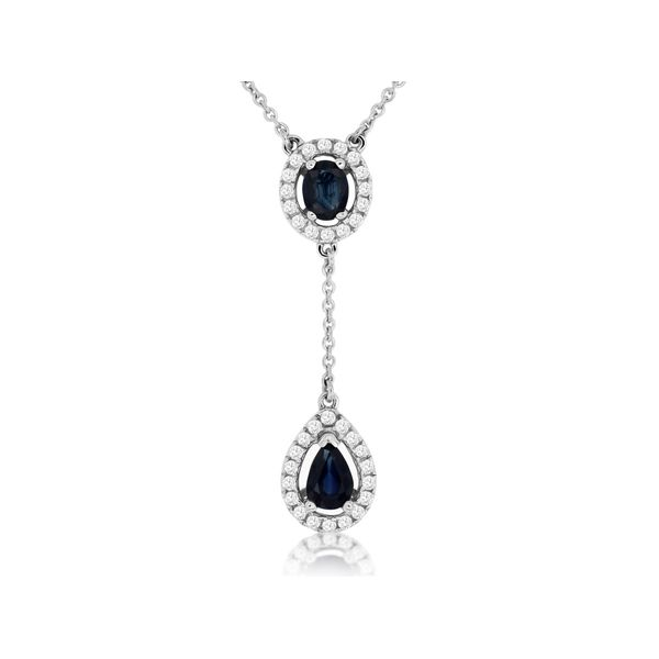 14K White Gold Halo Sapphire Lariat Necklace Quality Gem LLC Bethel, CT