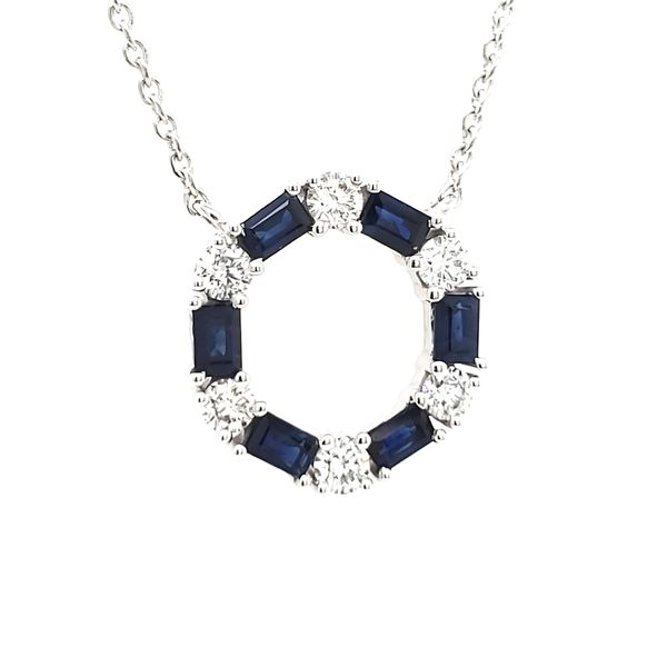 14K White Gold Sapphire & Diamond Circle With Bezel Diamond Stations Necklace Image 4 Quality Gem, LLC Bethel, CT