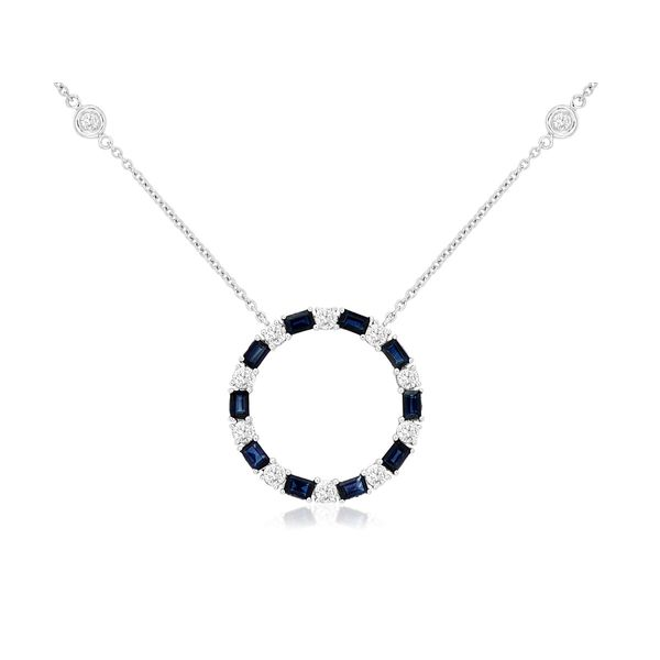 14K White Gold Sapphire & Diamond Circle With Bezel Diamond Stations Necklace Quality Gem, LLC Bethel, CT